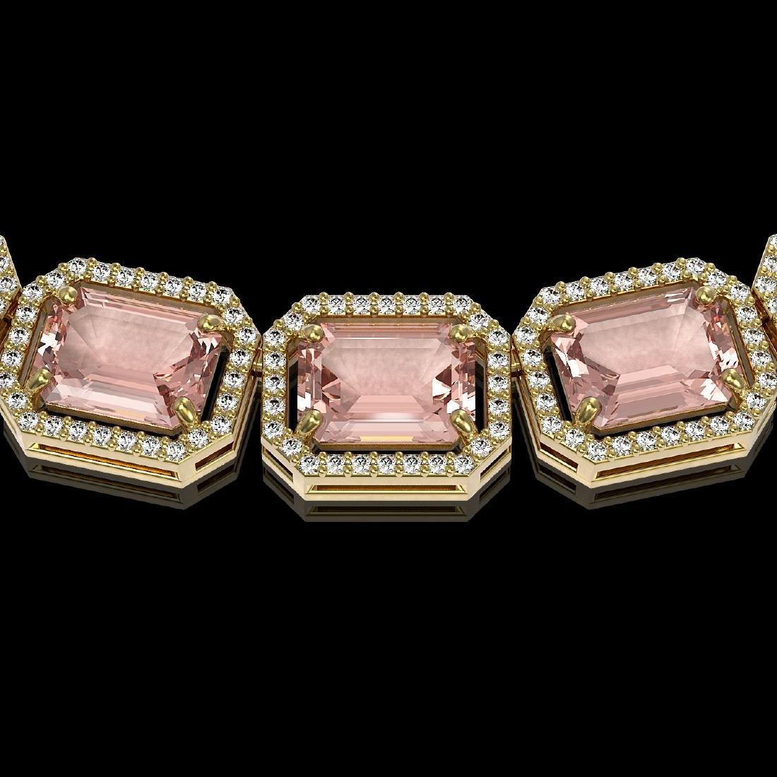 81.64 CTW Morganite & Diamond Halo Necklace 10K Yellow - 3