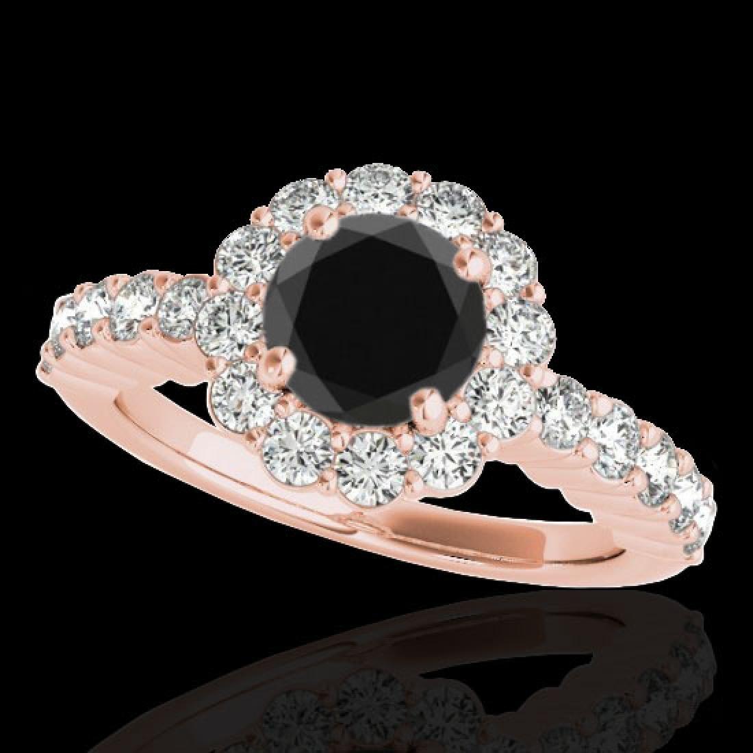 1.75 CTW Certified VS Black Diamond Solitaire Halo Ring
