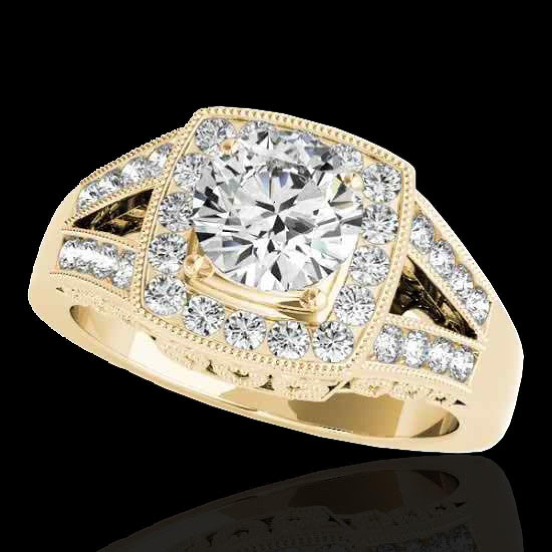 1.65 CTW H-SI/I Certified Diamond Solitaire Halo Ring