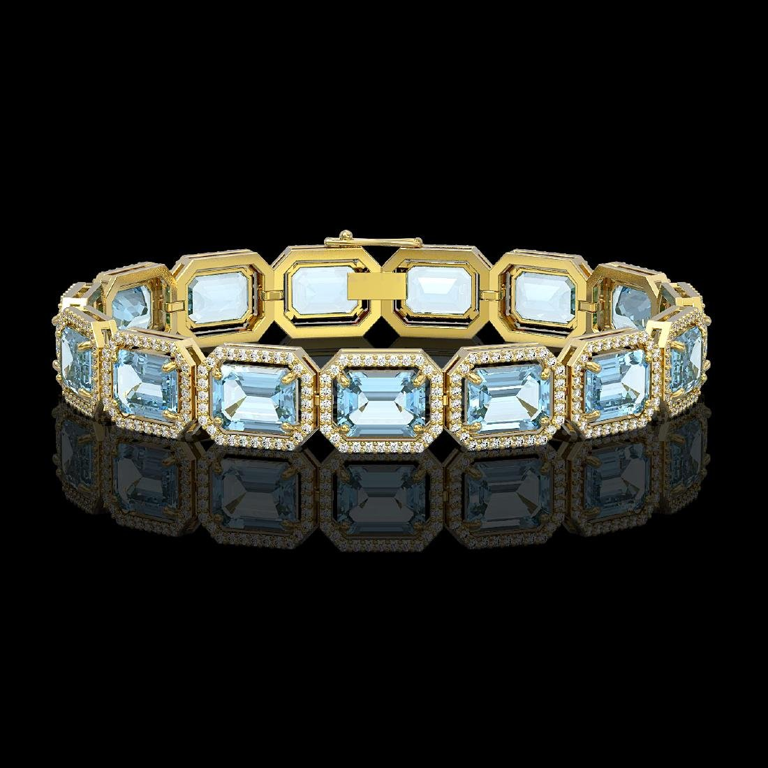35.61 CTW Sky Topaz & Diamond Halo Bracelet 10K Yellow