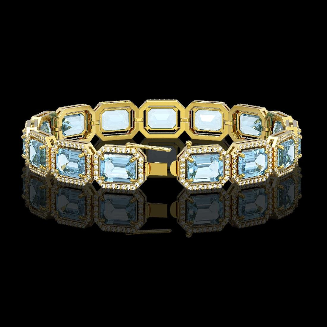 35.61 CTW Sky Topaz & Diamond Halo Bracelet 10K Yellow - 2