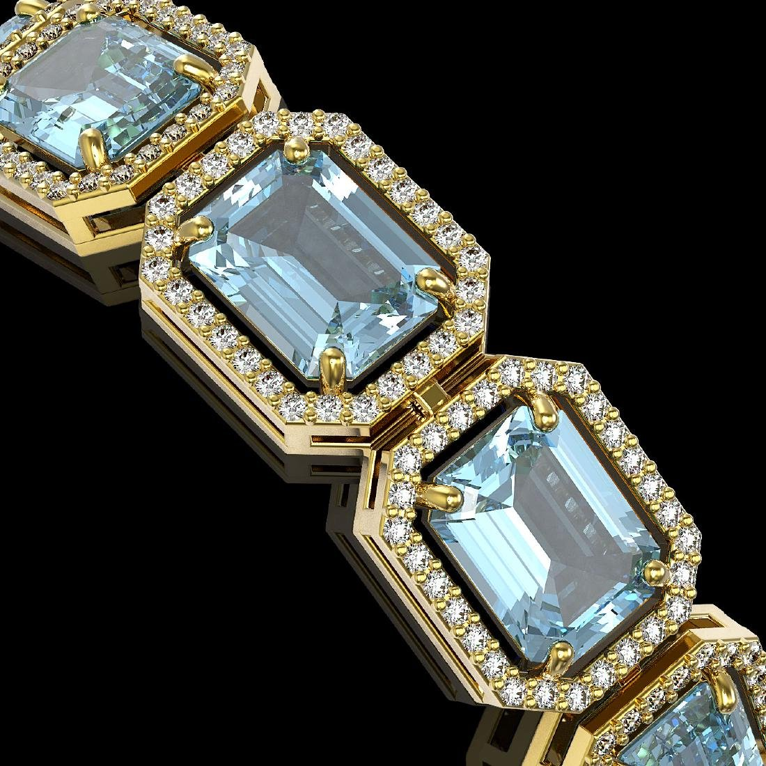 35.61 CTW Sky Topaz & Diamond Halo Bracelet 10K Yellow - 3