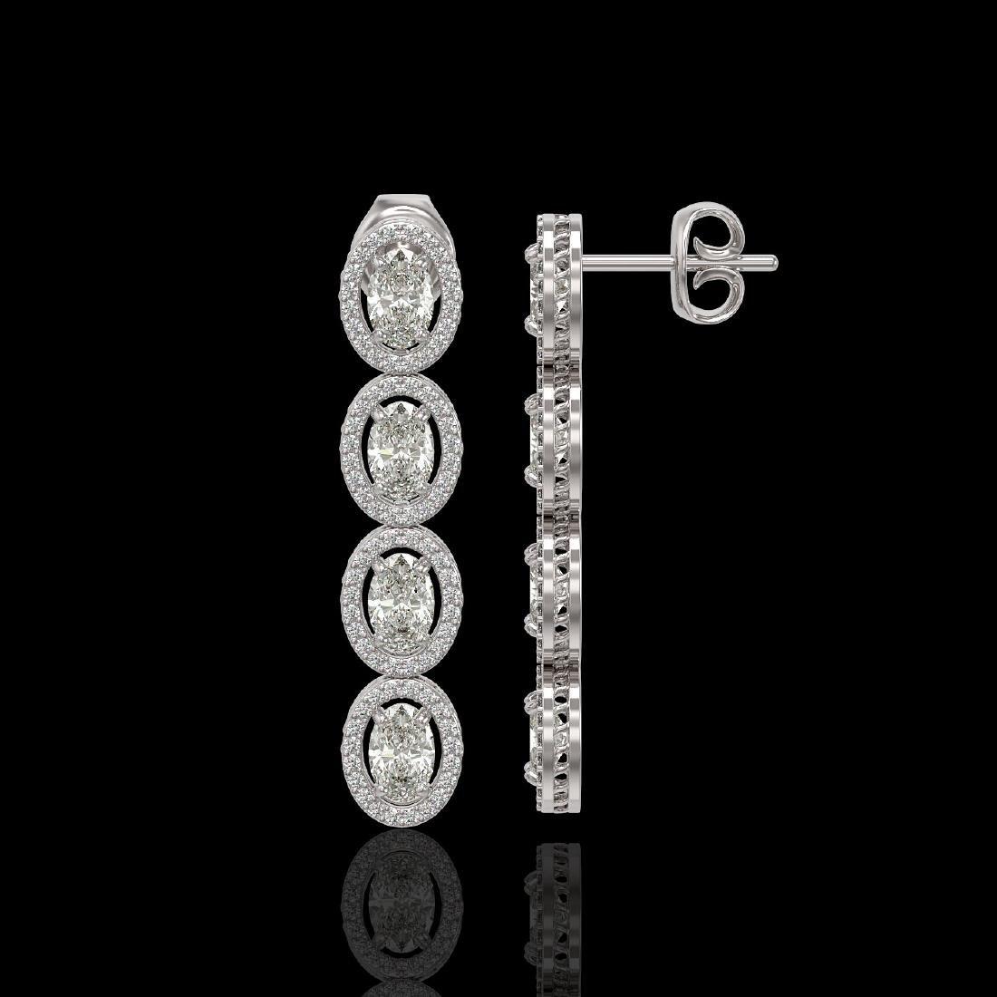 5.33 CTW Oval Diamond Designer Earrings 18K White Gold - 2