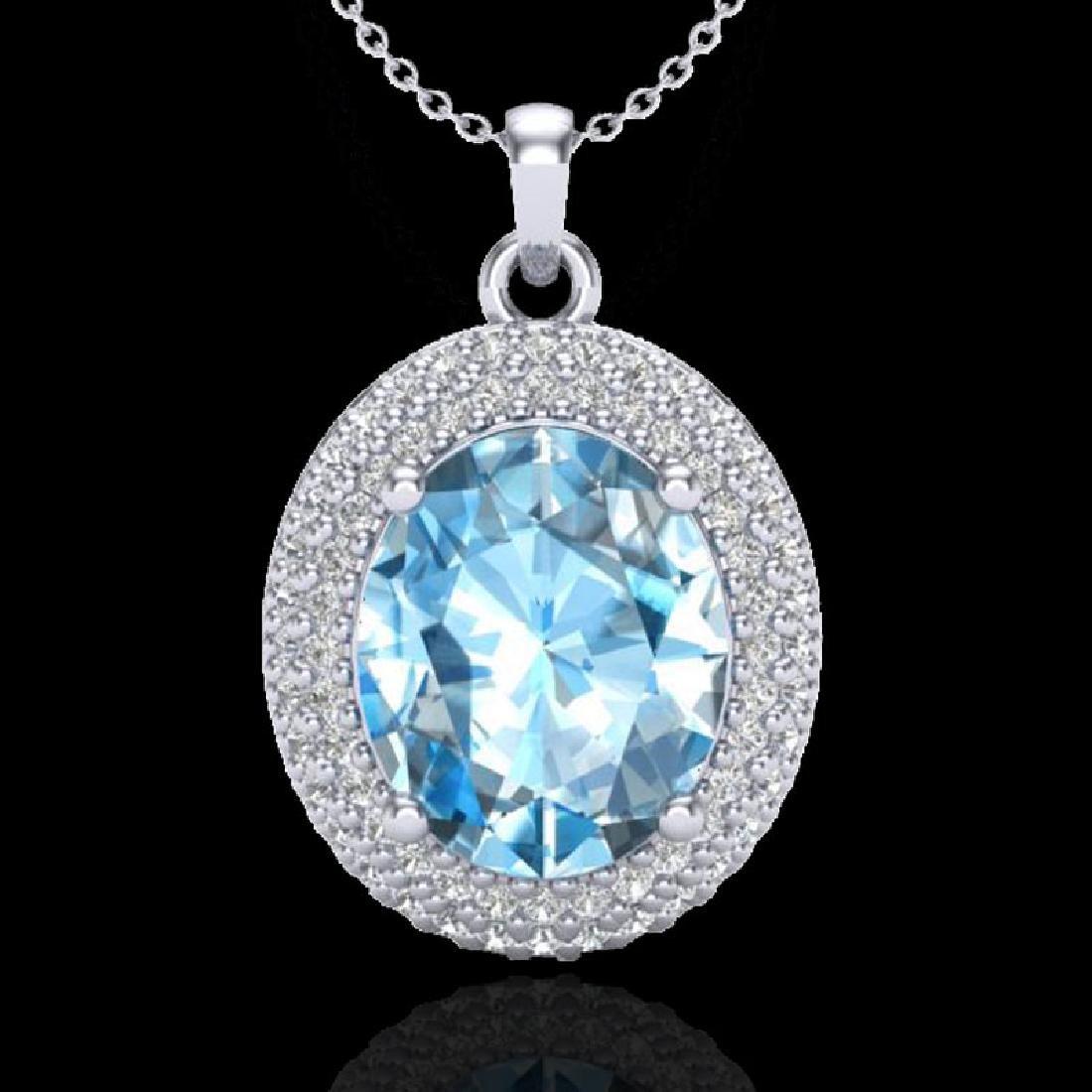 5 CTW Sky Blue Topaz & Micro Pave VS/SI Diamond
