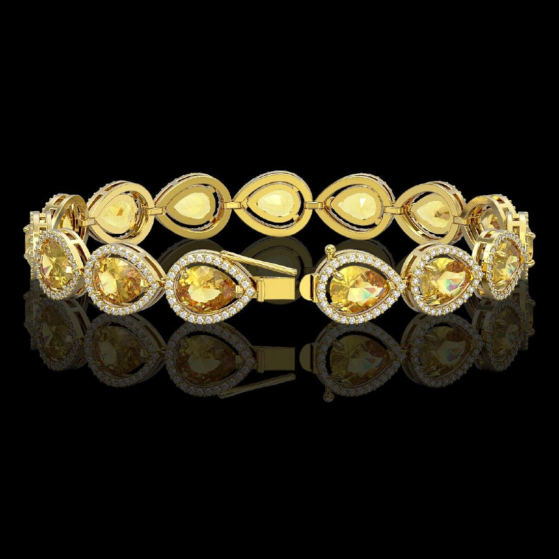 17.3 CTW Fancy Citrine & Diamond Halo Bracelet 10K - 2