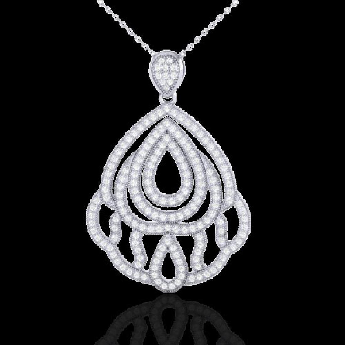 1.50 CTW Micro Pave VS/SI Diamond Necklace Designer 18K - 2