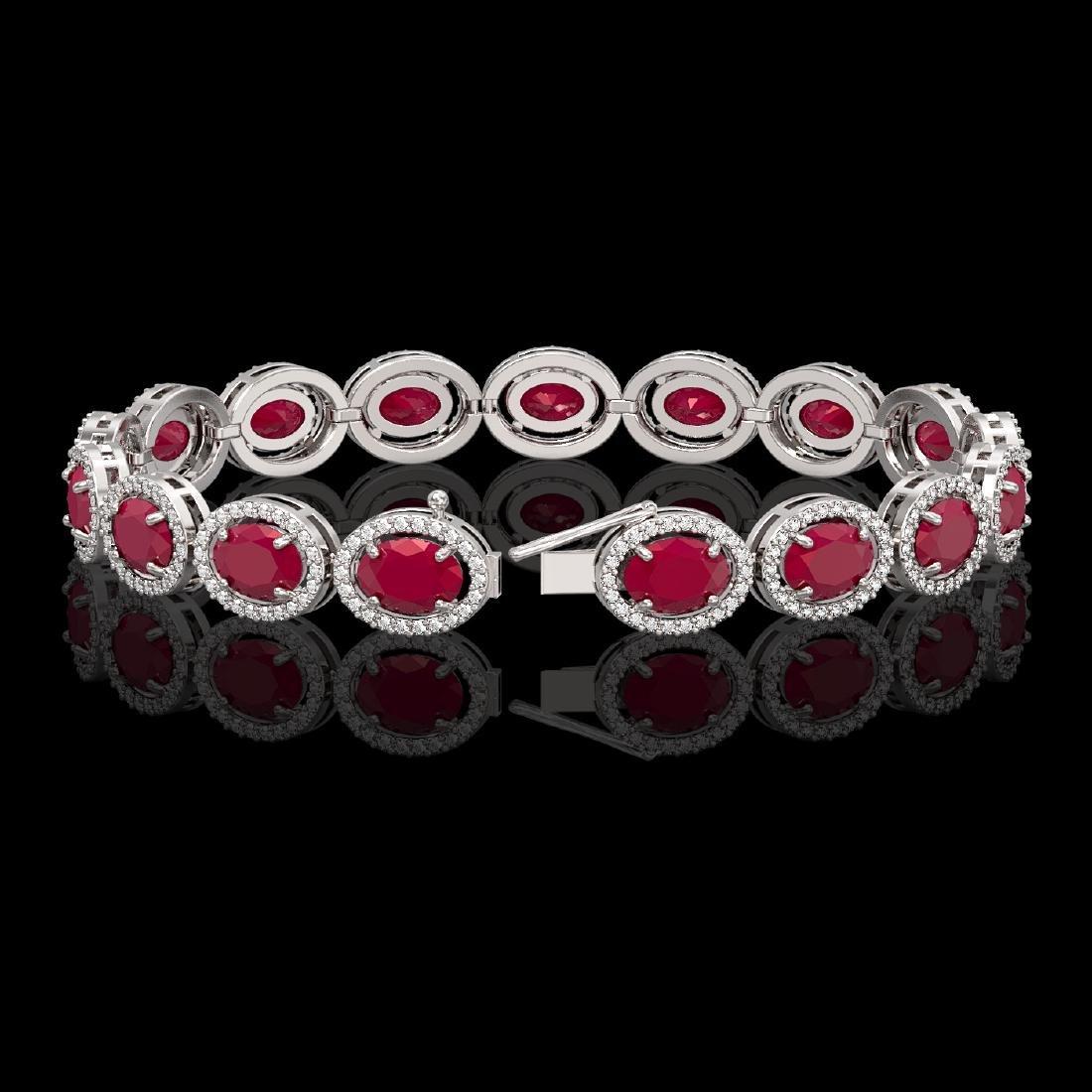 22.89 CTW Ruby & Diamond Halo Bracelet 10K White Gold - 2