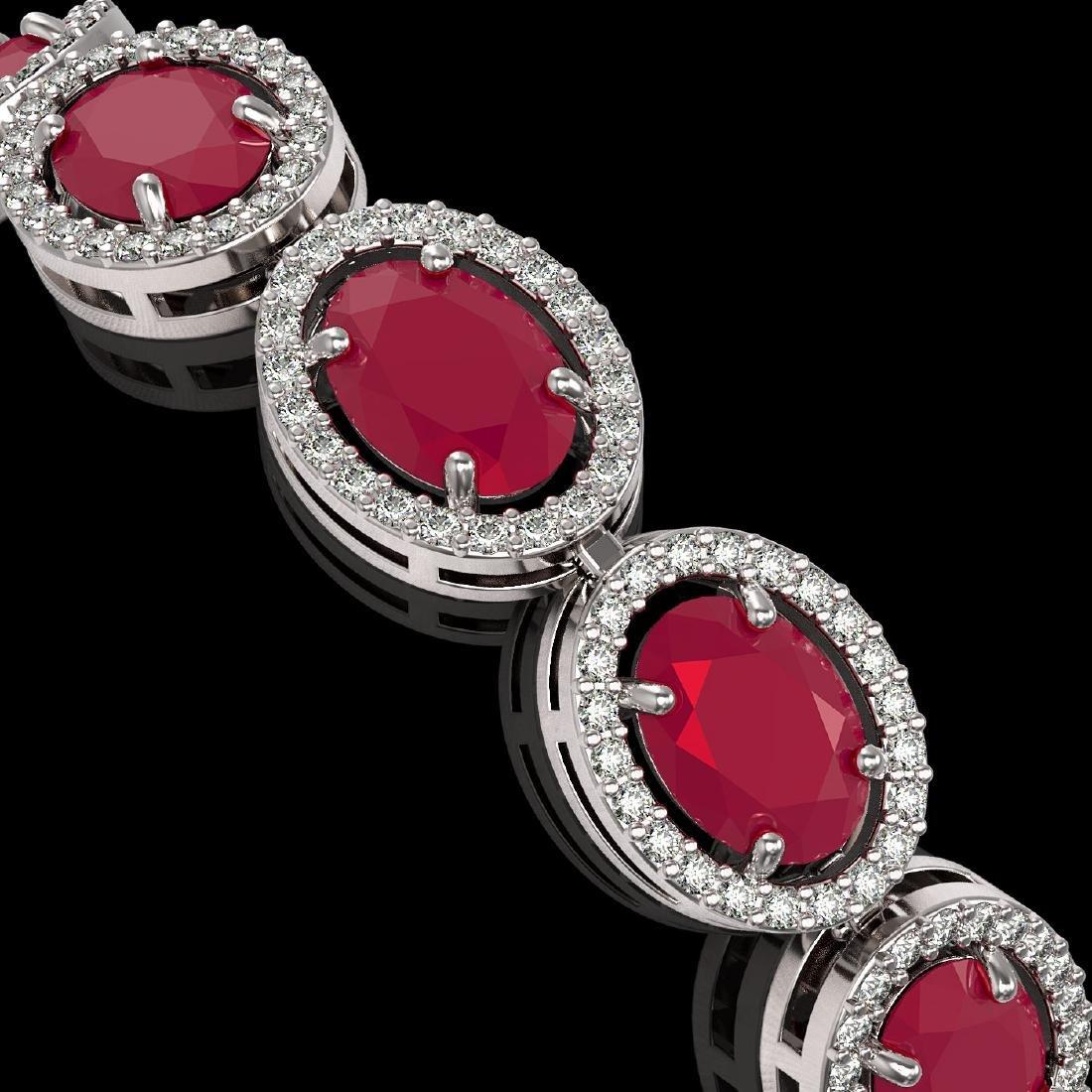 22.89 CTW Ruby & Diamond Halo Bracelet 10K White Gold - 3