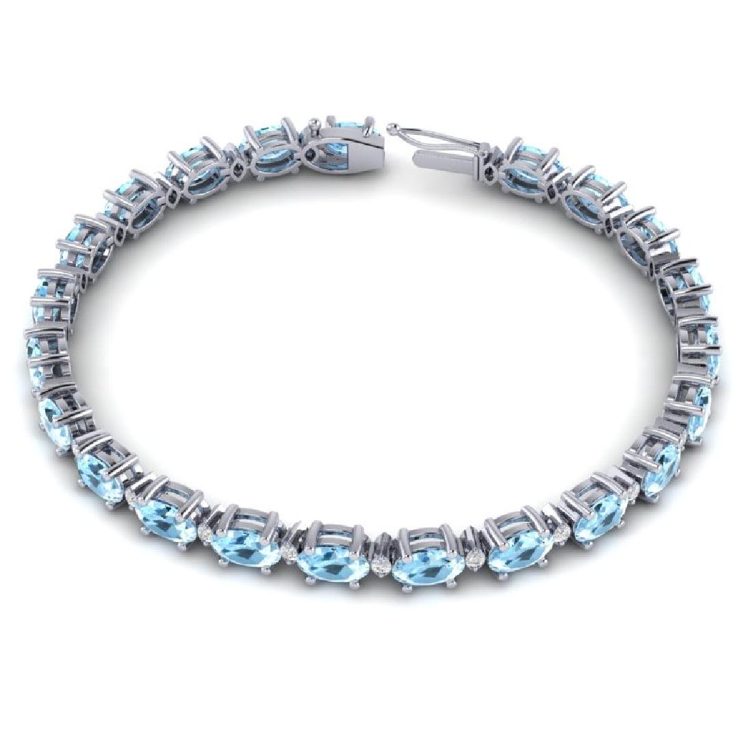 10 CTW Aquamarine & VS/SI Diamond Eternity Bracelet 10K - 3