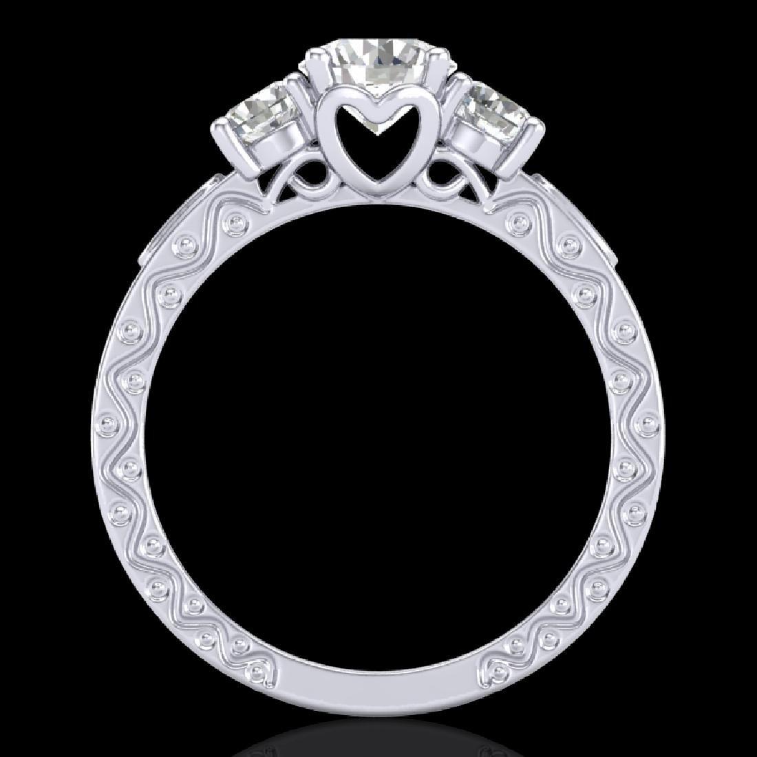 1.41 CTW VS/SI Diamond Solitaire Art Deco 3 Stone Ring - 2