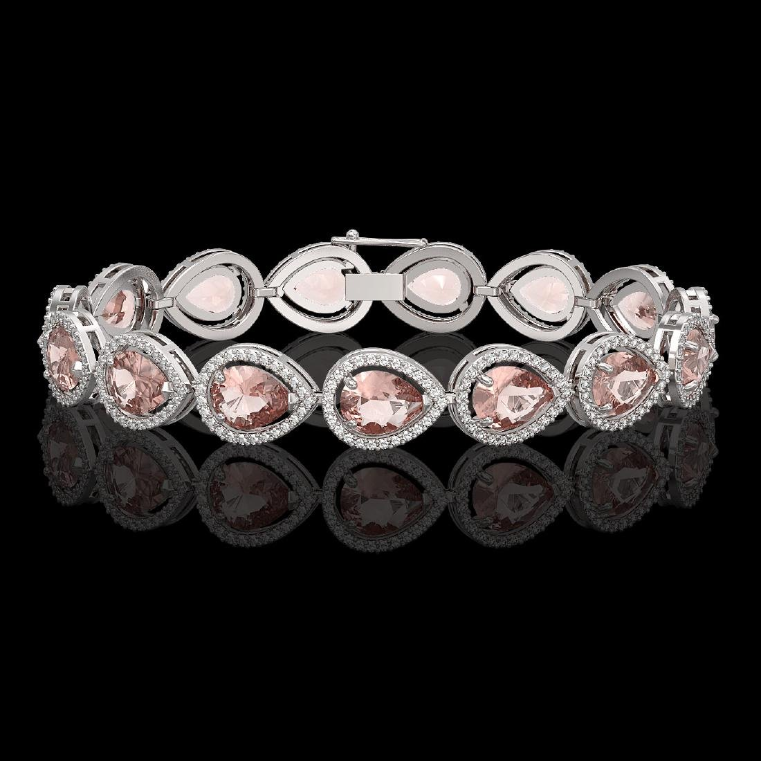 19.55 CTW Morganite & Diamond Halo Bracelet 10K White