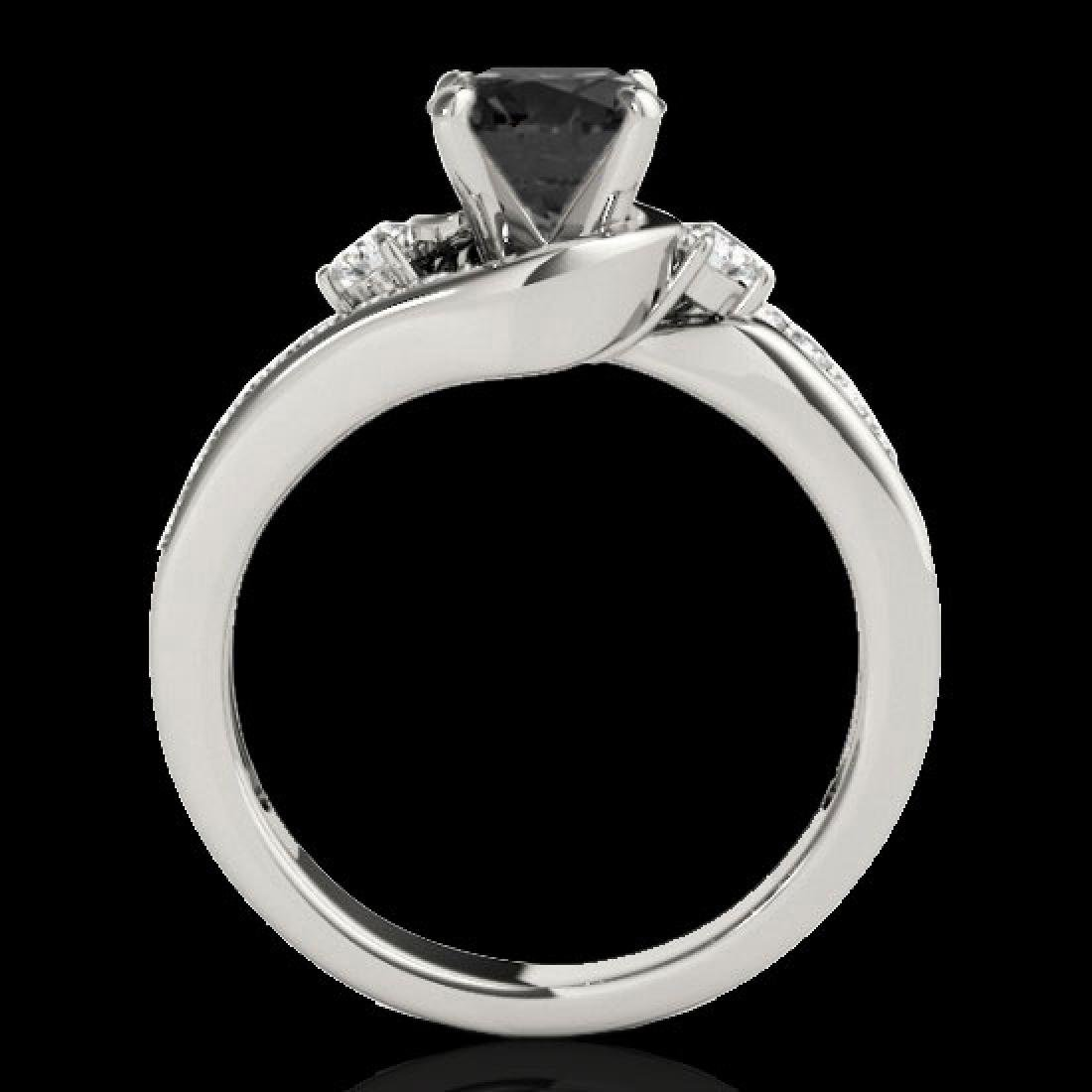 2 CTW Certified VS Black Diamond Bypass Solitaire Ring - 2