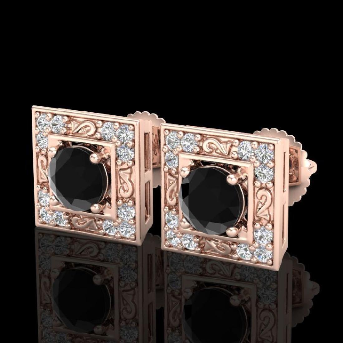 1.63 CTW Fancy Black Diamond Solitaire Art Deco Stud