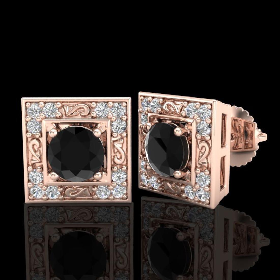 1.63 CTW Fancy Black Diamond Solitaire Art Deco Stud - 2