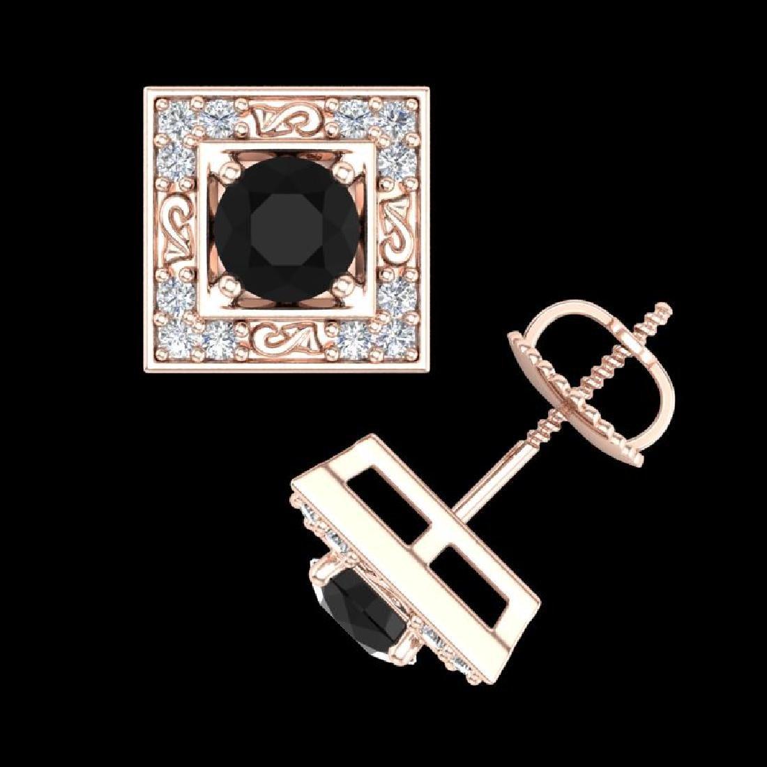 1.63 CTW Fancy Black Diamond Solitaire Art Deco Stud - 3