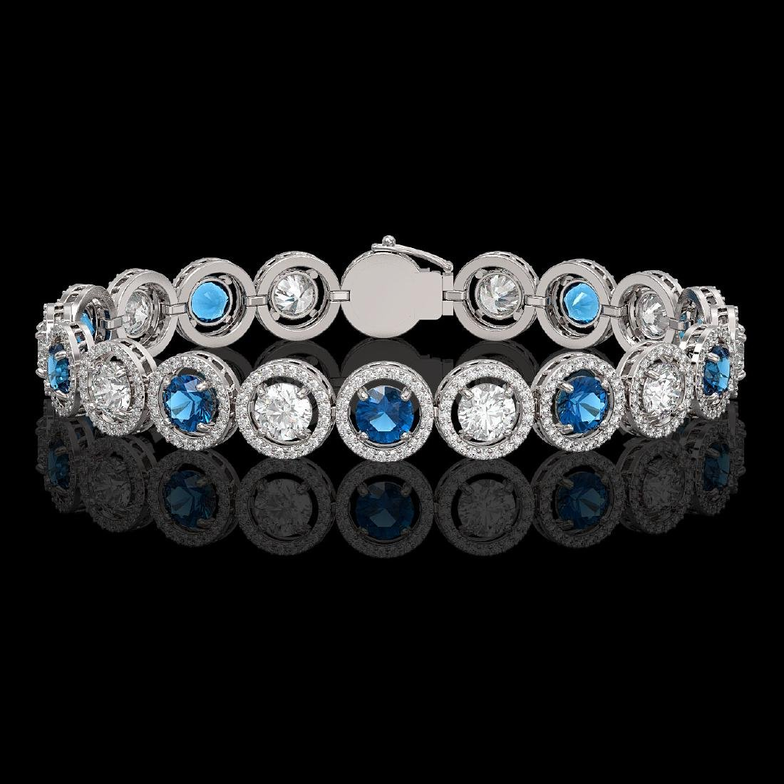 13.56 CTW Blue & White Diamond Designer Bracelet 18K