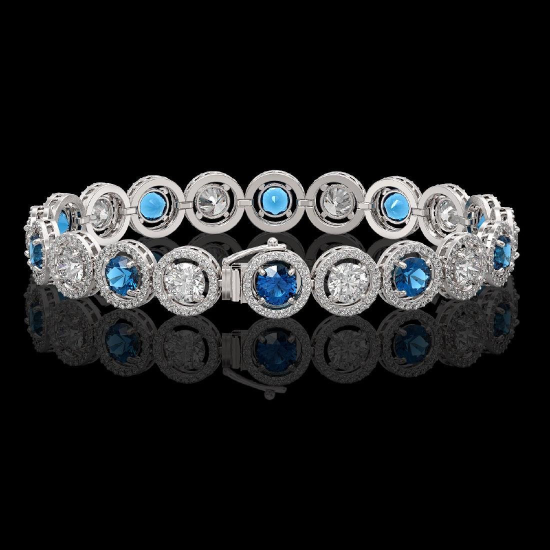 13.56 CTW Blue & White Diamond Designer Bracelet 18K - 2