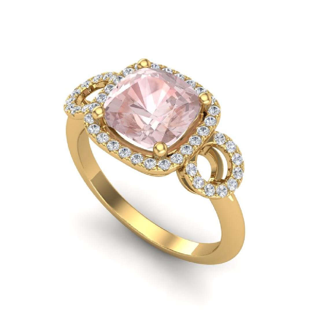 2.75 CTW Morganite & Micro VS/SI Diamond Ring 14K Rose