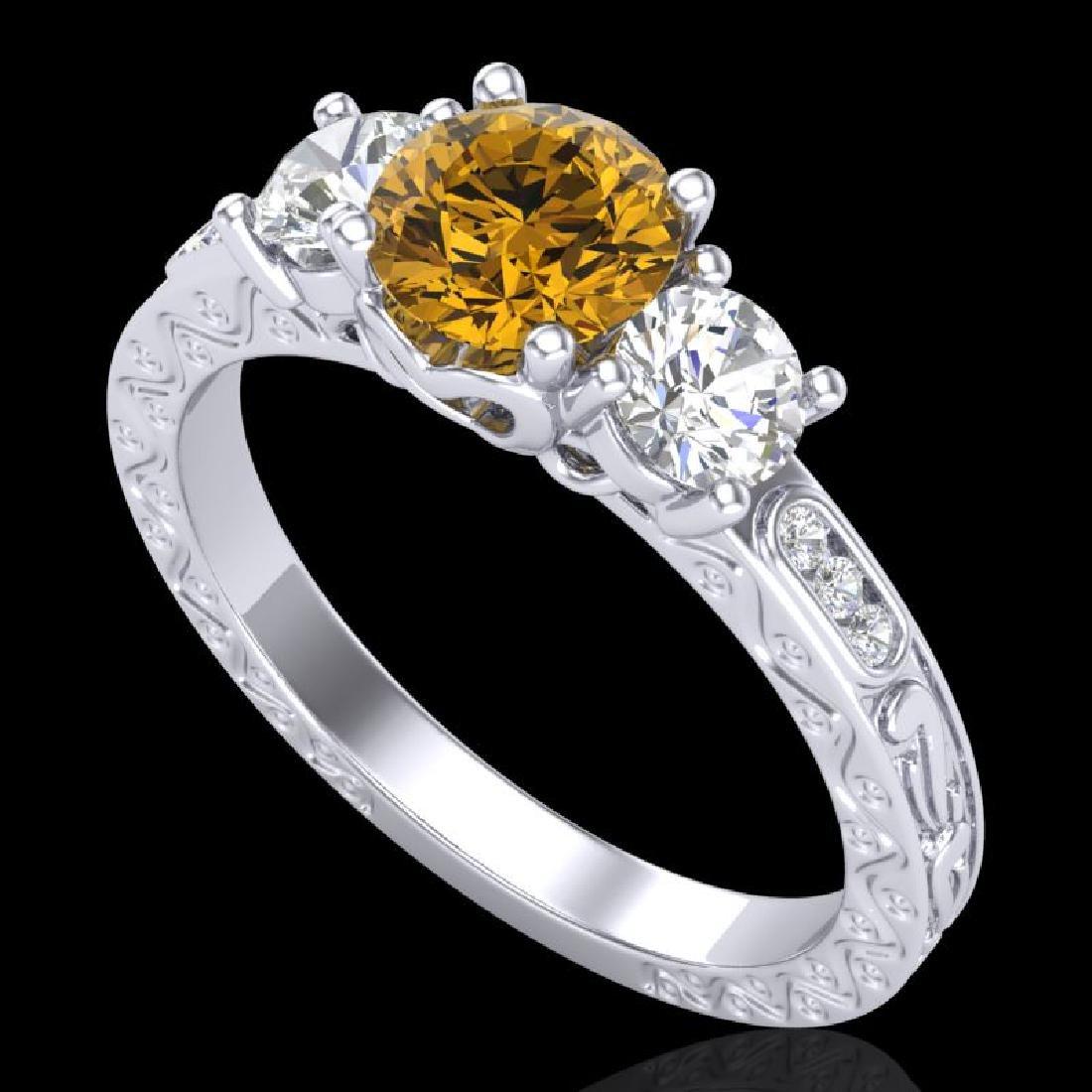 1.41 CTW Intense Fancy Yellow Diamond Art Deco 3 Stone