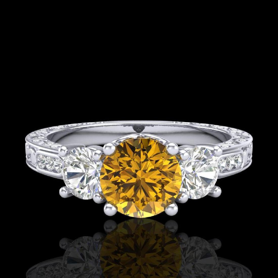 1.41 CTW Intense Fancy Yellow Diamond Art Deco 3 Stone - 2