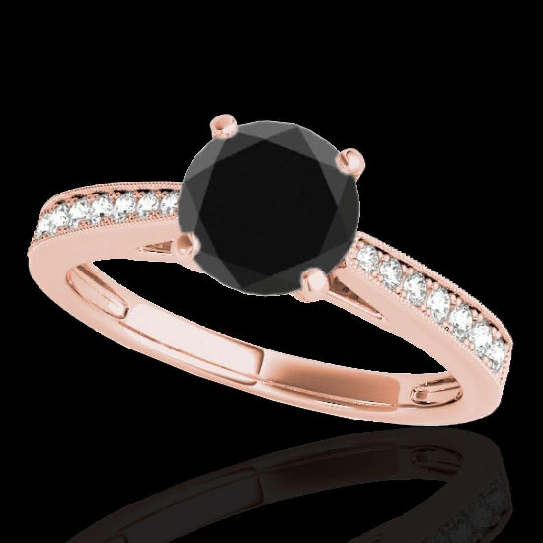 1.25 CTW Certified VS Black Diamond Solitaire Ring 10K