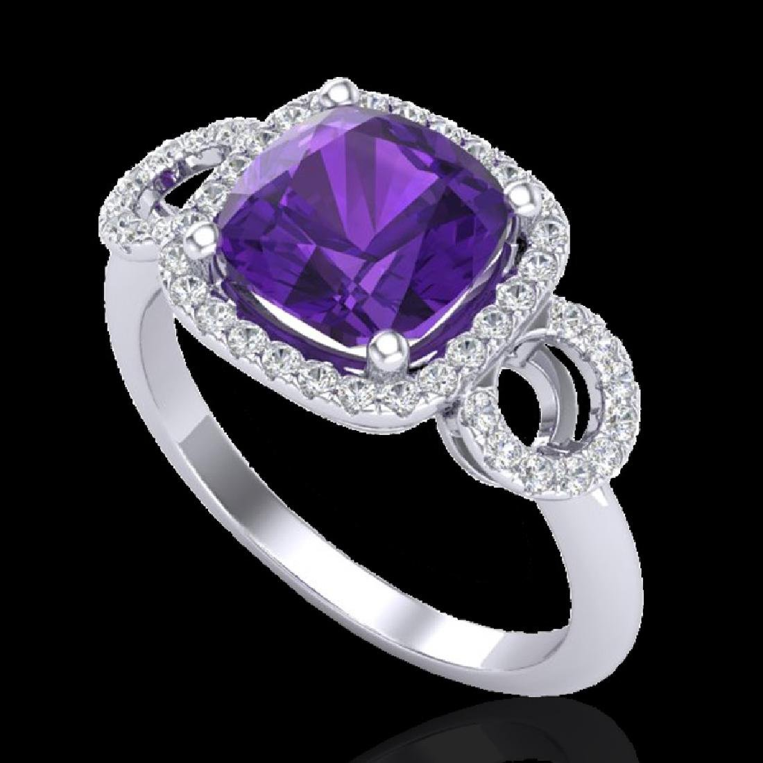 3.75 CTW Amethyst & Micro VS/SI Diamond Ring 18K White - 2
