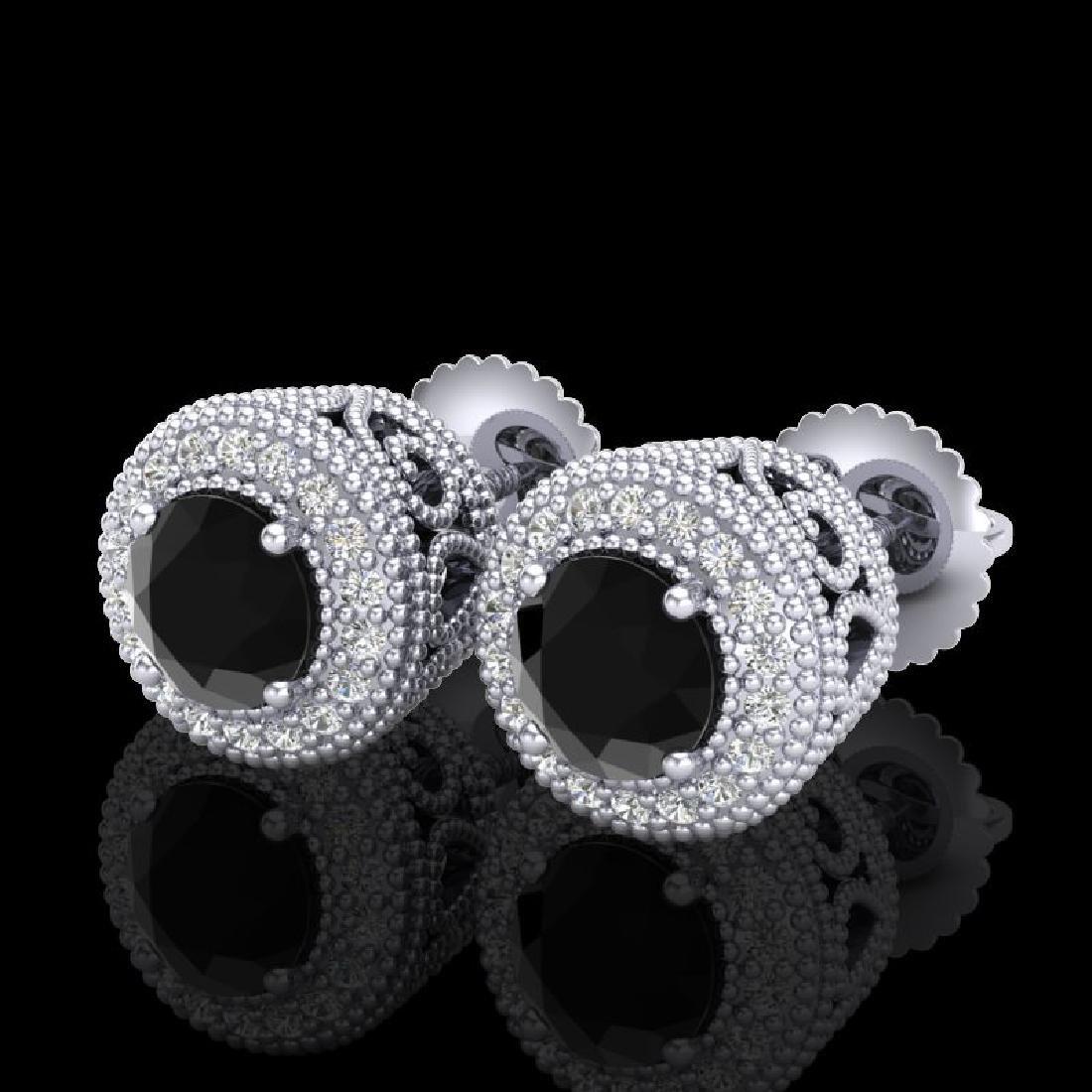 1.55 CTW Fancy Black Diamond Solitaire Art Deco Stud