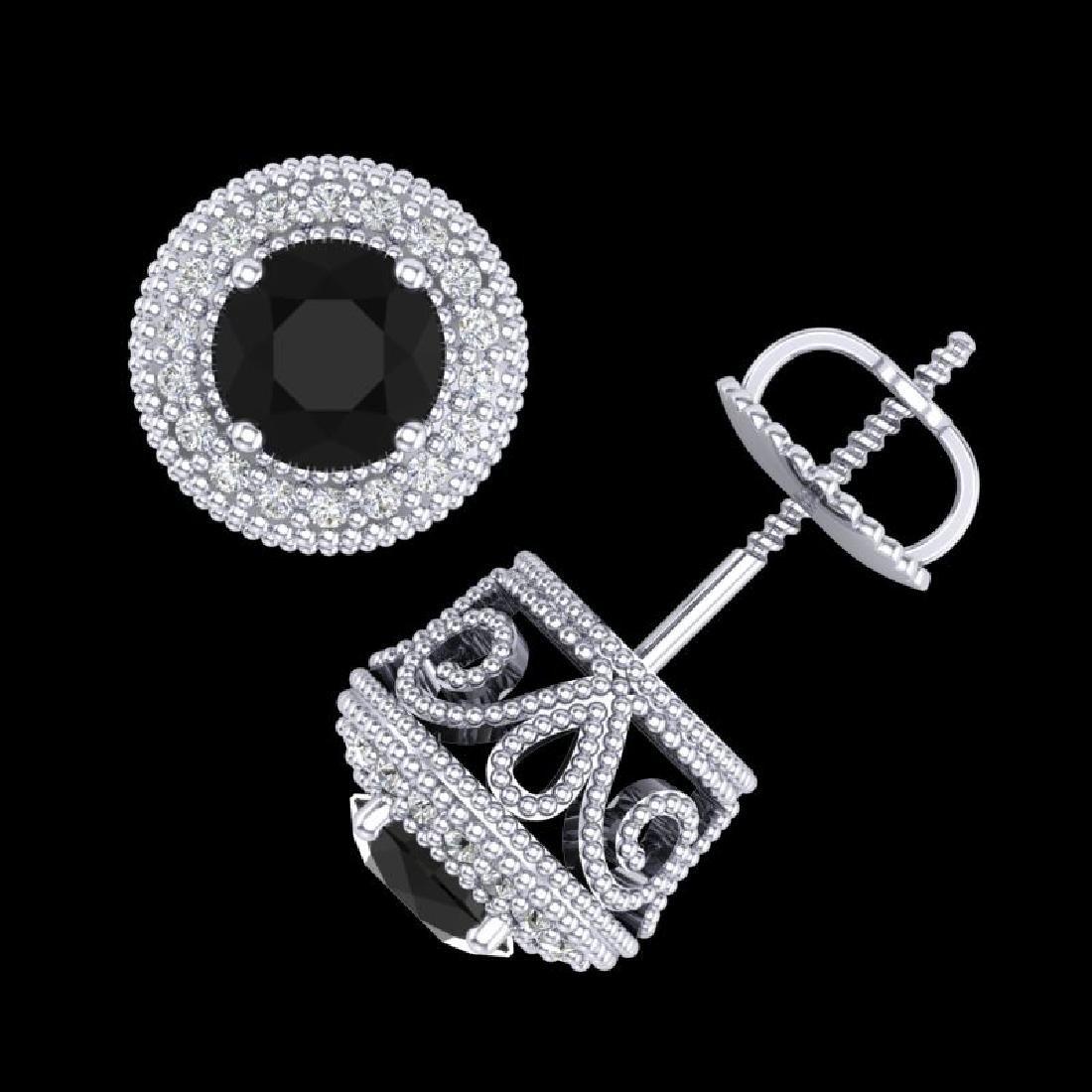 1.55 CTW Fancy Black Diamond Solitaire Art Deco Stud - 3