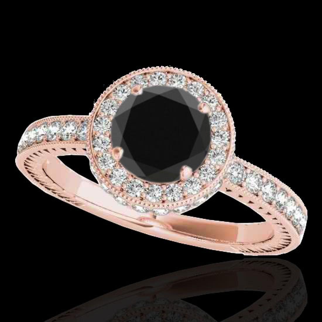 1.51 CTW Certified VS Black Diamond Solitaire Halo Ring