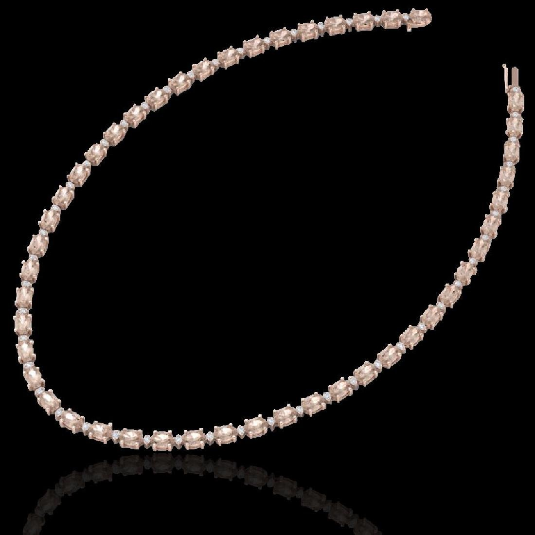 49.85 CTW Morganite & VS/SI Certified Diamond Eternity - 2
