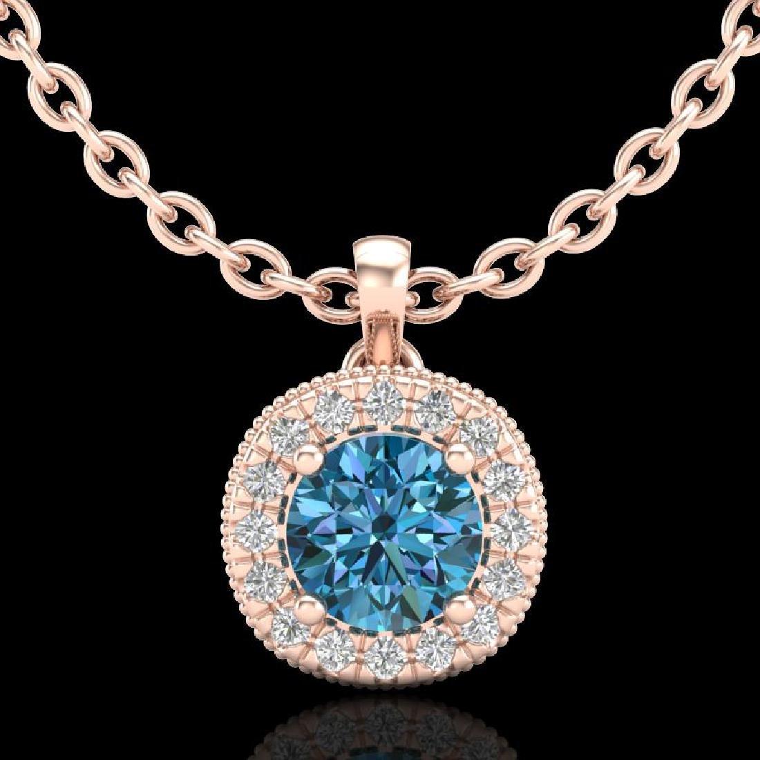 1.1 CTW Fancy Intense Blue Diamond Solitaire Art Deco