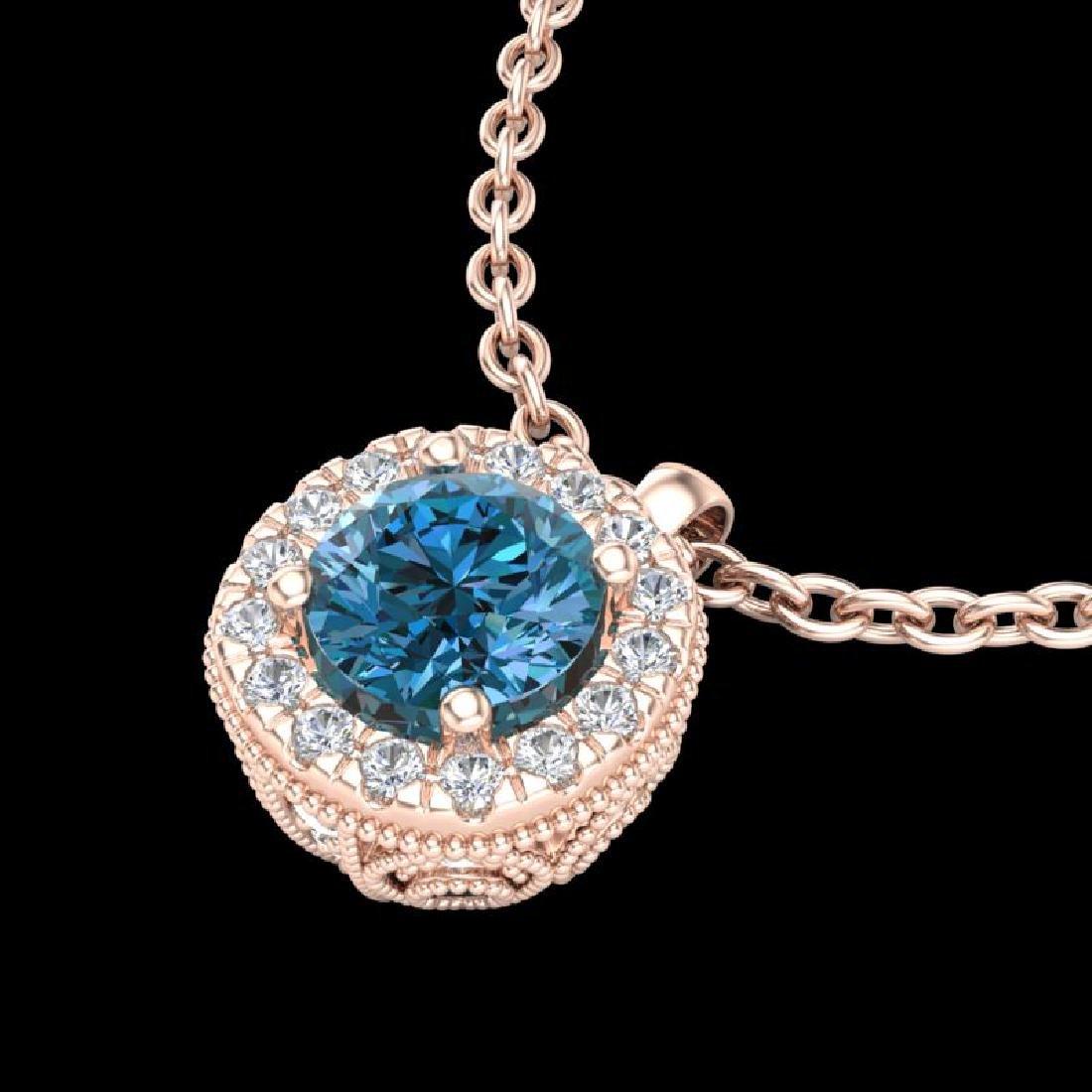 1.1 CTW Fancy Intense Blue Diamond Solitaire Art Deco - 2