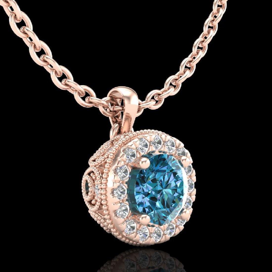1.1 CTW Fancy Intense Blue Diamond Solitaire Art Deco - 3