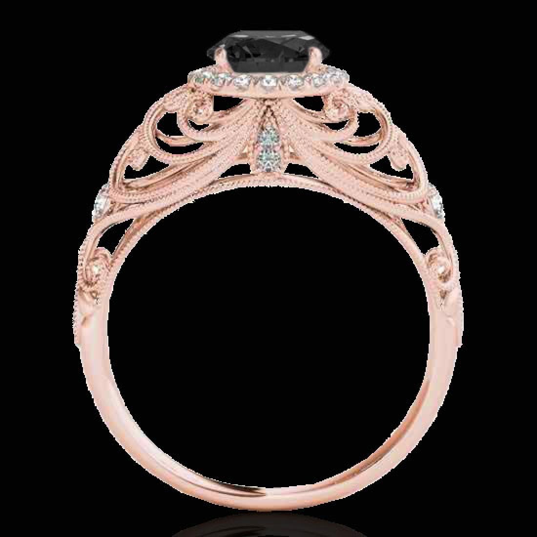 1.22 CTW Certified VS Black Diamond Solitaire Halo Ring - 2