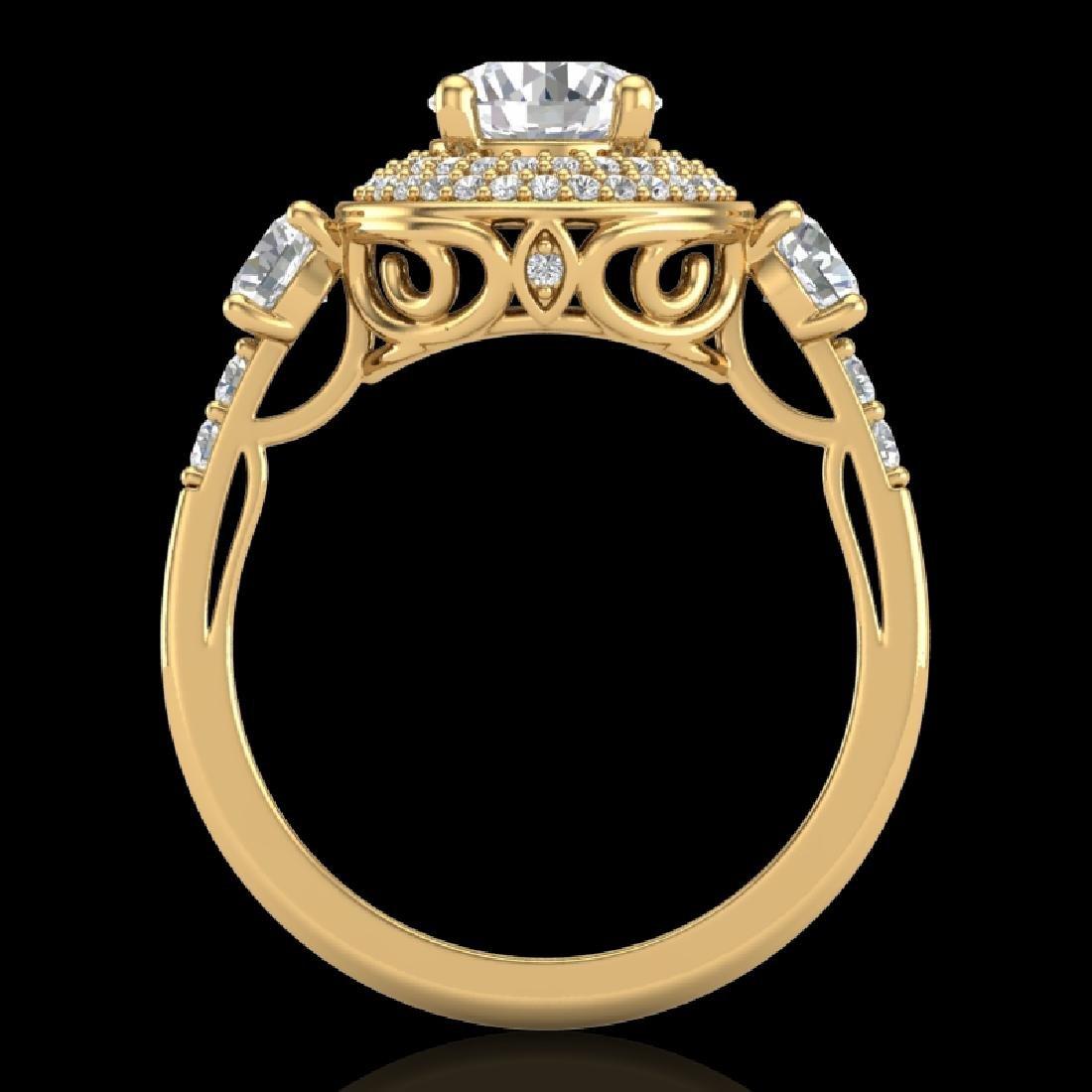 2.05 CTW VS/SI Diamond Solitaire Art Deco 3 Stone Ring
