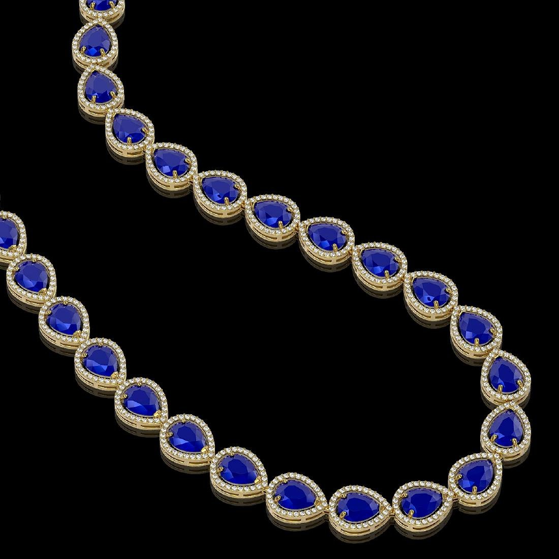 64.01 CTW Sapphire & Diamond Halo Necklace 10K Yellow - 2