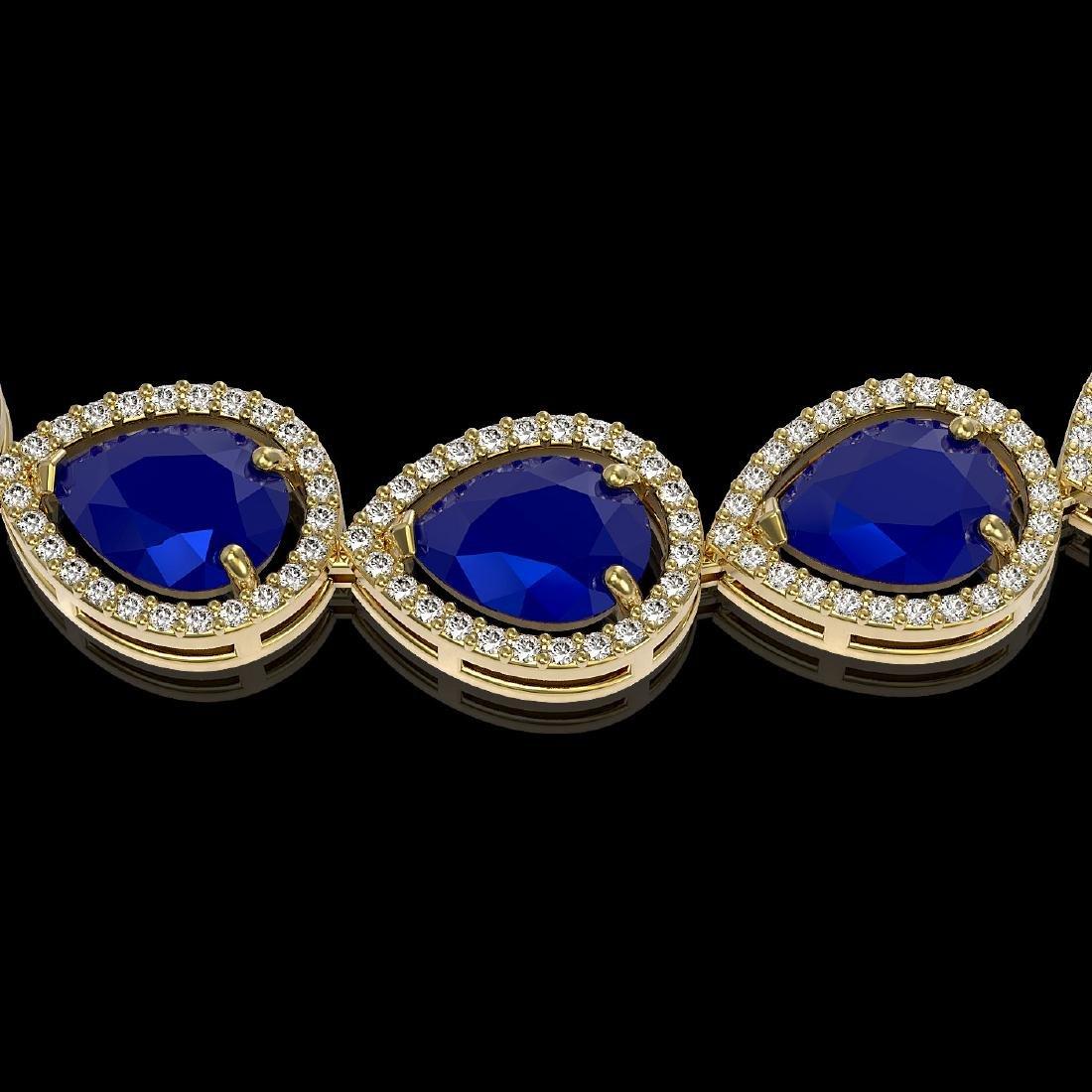 64.01 CTW Sapphire & Diamond Halo Necklace 10K Yellow - 3