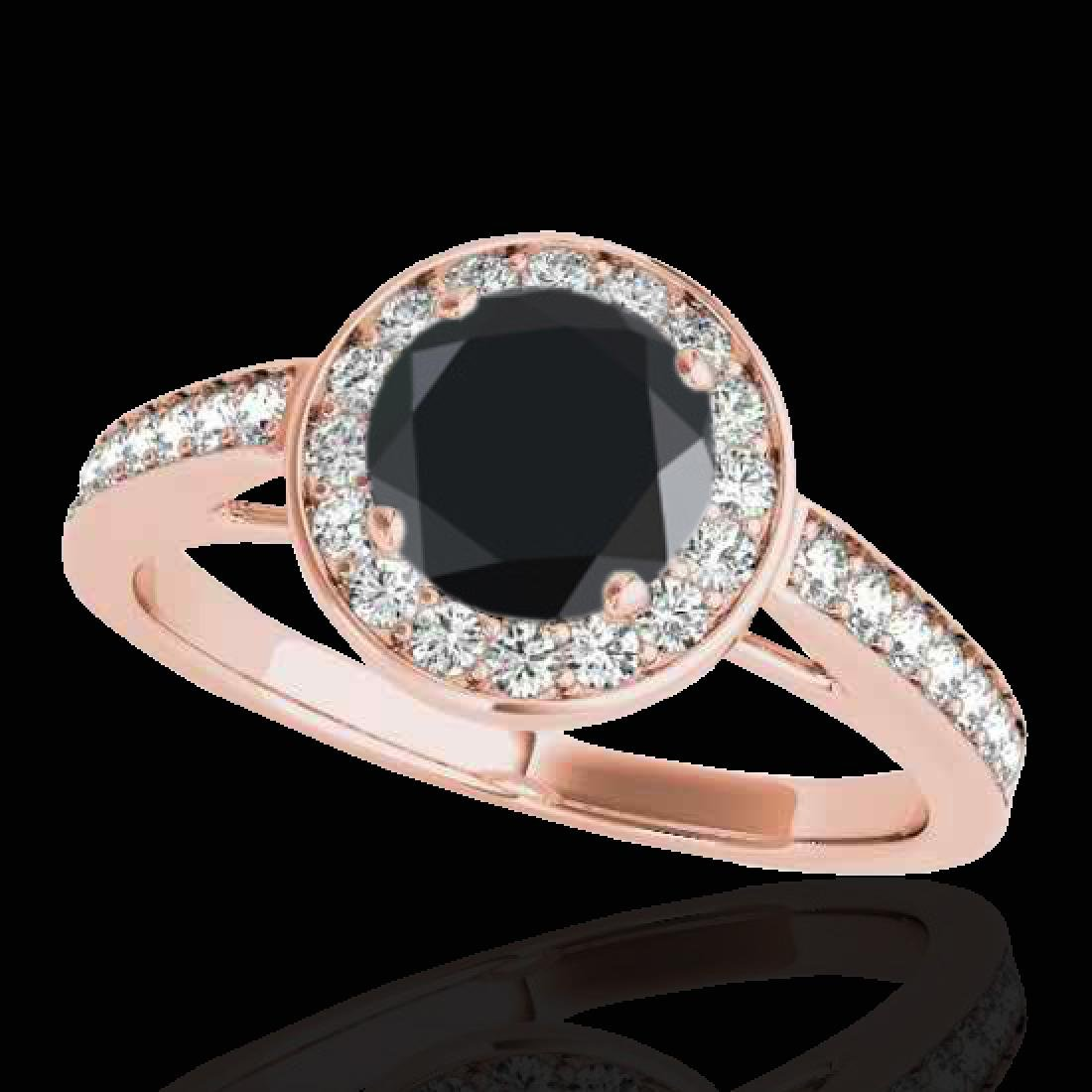1.45 CTW Certified VS Black Diamond Solitaire Halo Ring