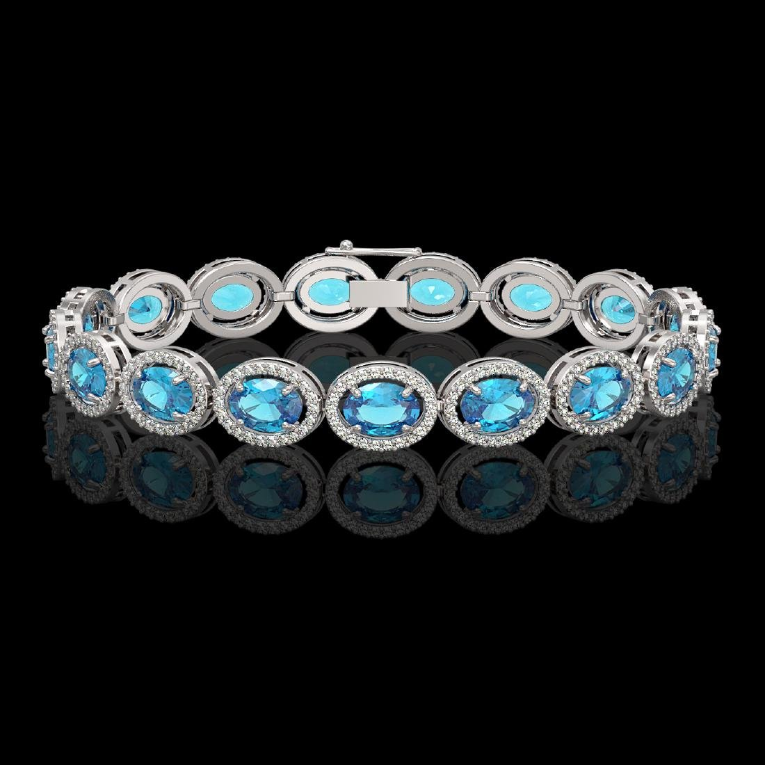 24.32 CTW Swiss Topaz & Diamond Halo Bracelet 10K White