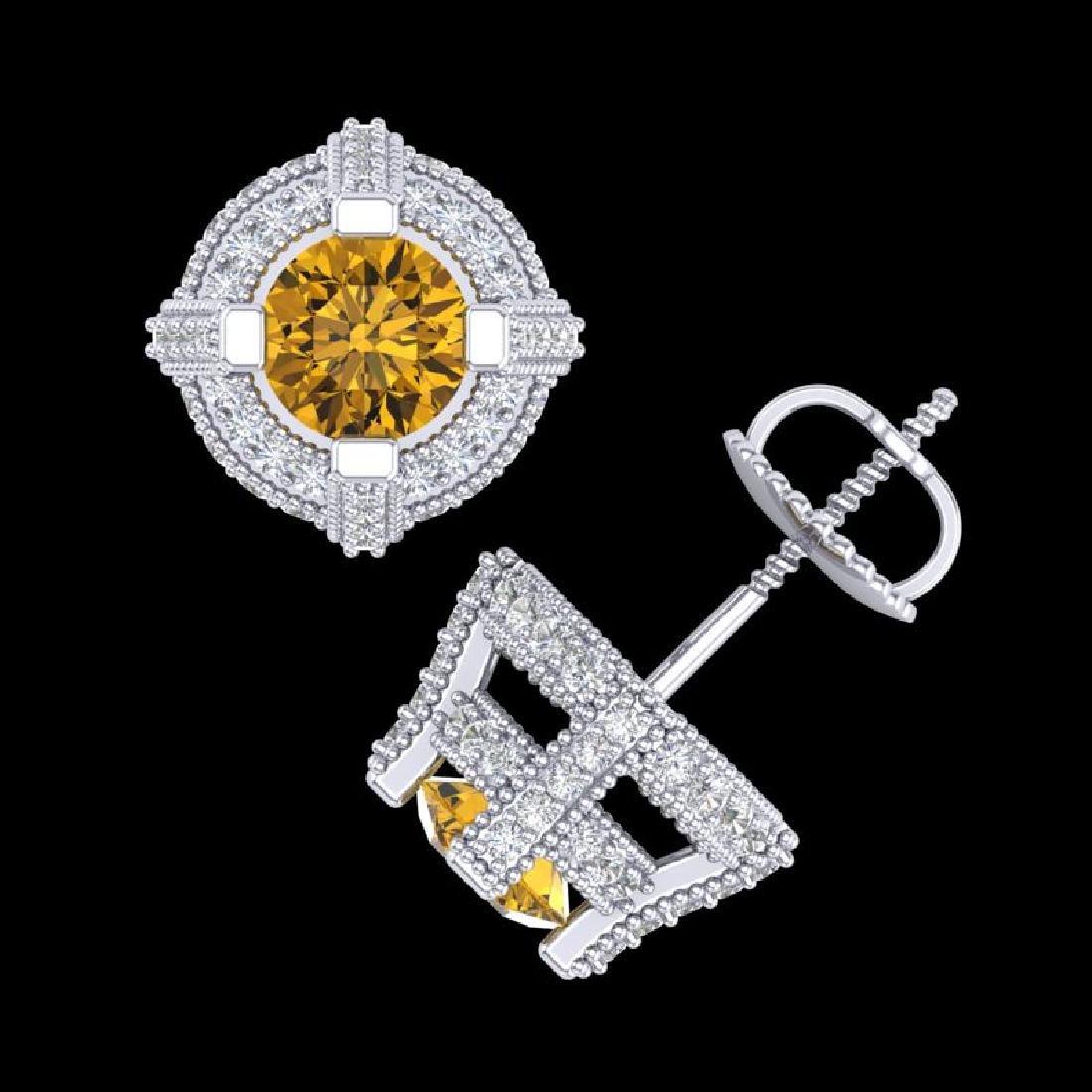 2.75 CTW Intense Fancy Yellow Diamond Micro Pave Stud - 3