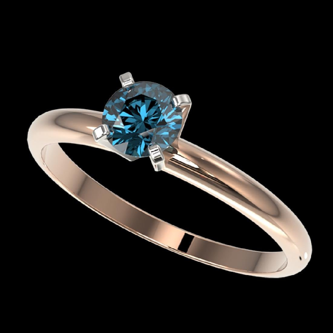 0.50 CTW Certified Intense Blue SI Diamond Solitaire