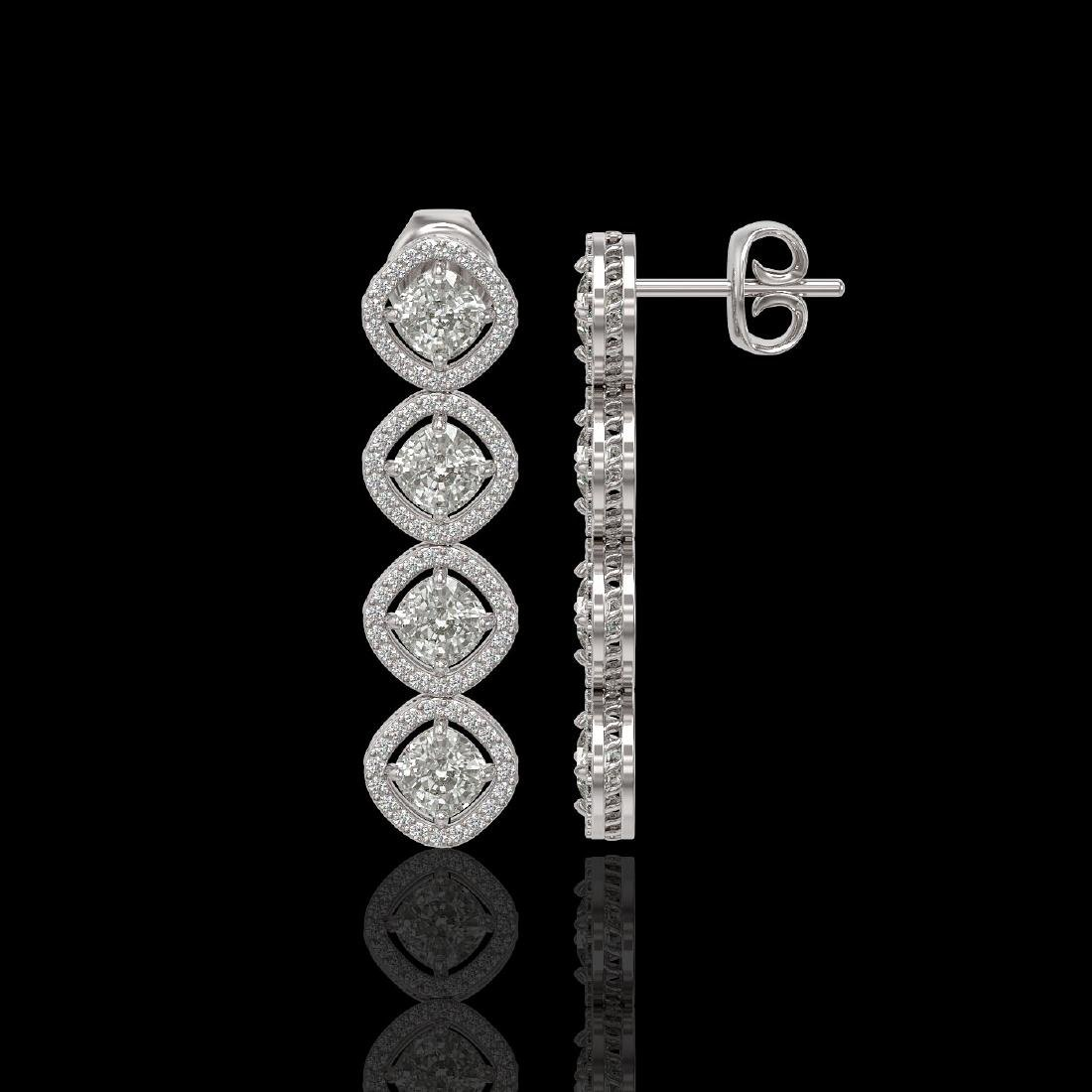 5.28 CTW Cushion Cut Diamond Designer Earrings 18K - 2