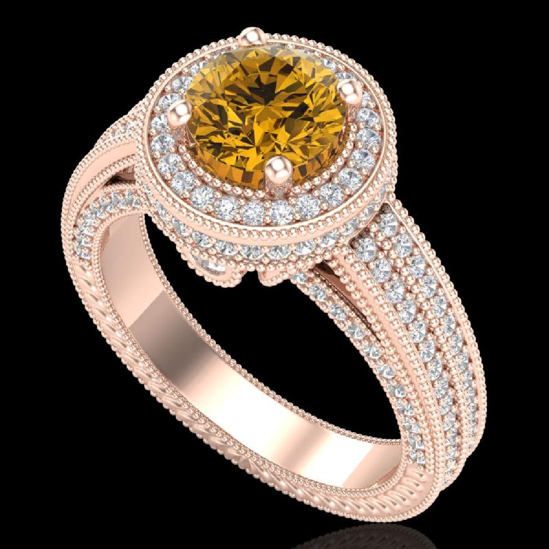 2.8 CTW Intense Fancy Yellow Diamond Engagement Art
