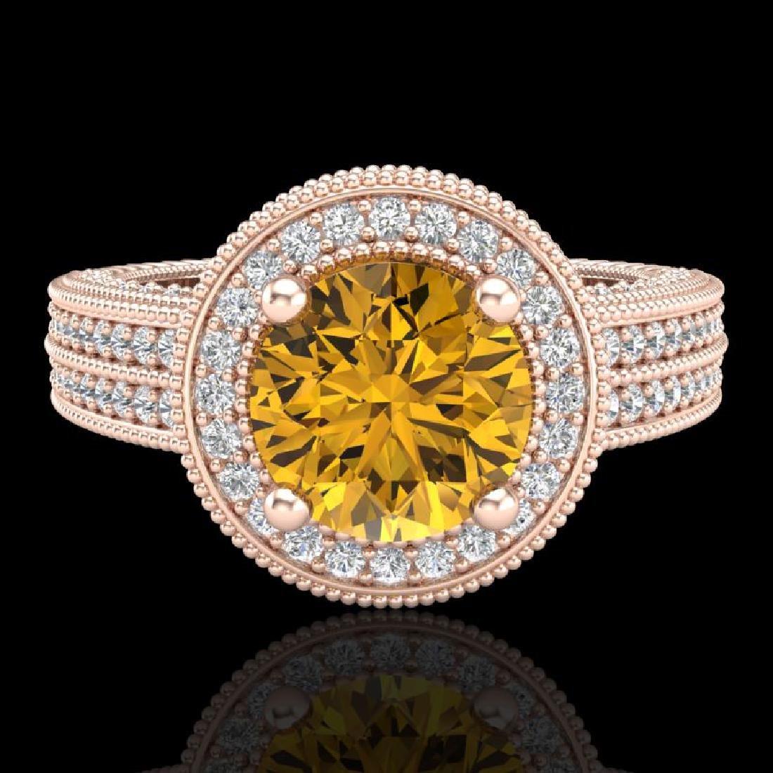 2.8 CTW Intense Fancy Yellow Diamond Engagement Art - 2