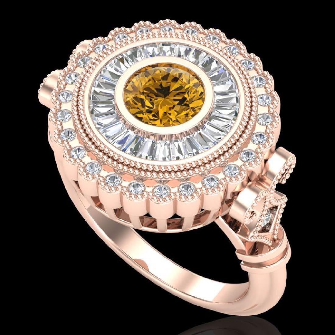2.03 CTW Intense Fancy Yellow Diamond Engagement Art