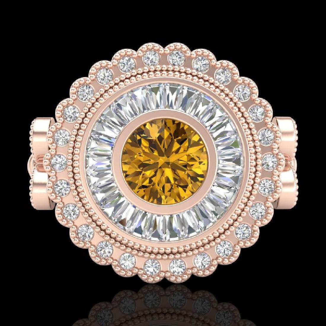 2.03 CTW Intense Fancy Yellow Diamond Engagement Art - 2