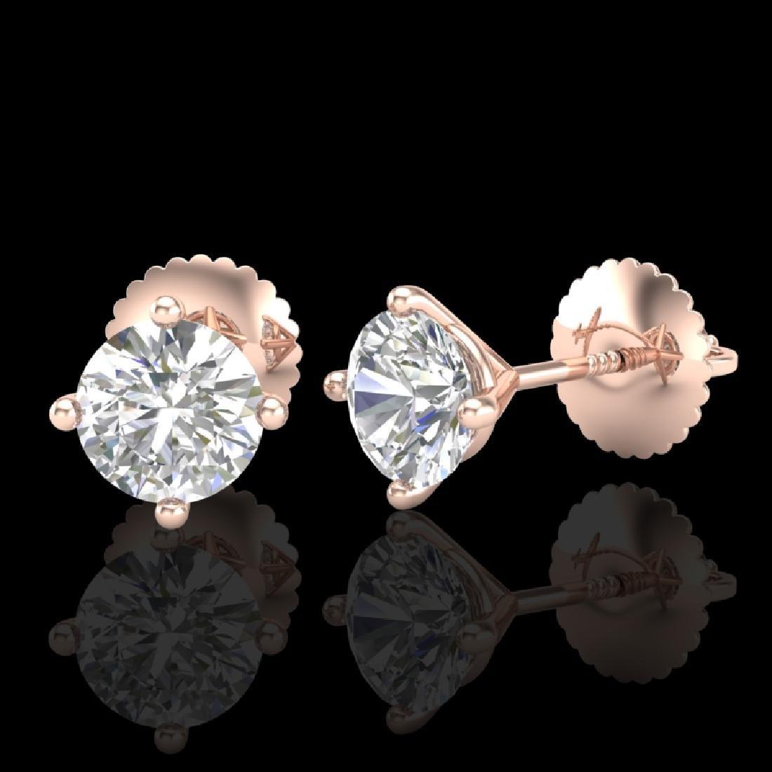 1.01 CTW VS/SI Diamond Solitaire Art Deco Stud Earrings - 2