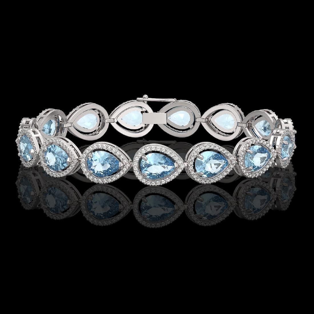 19.85 CTW Aquamarine & Diamond Halo Bracelet 10K White