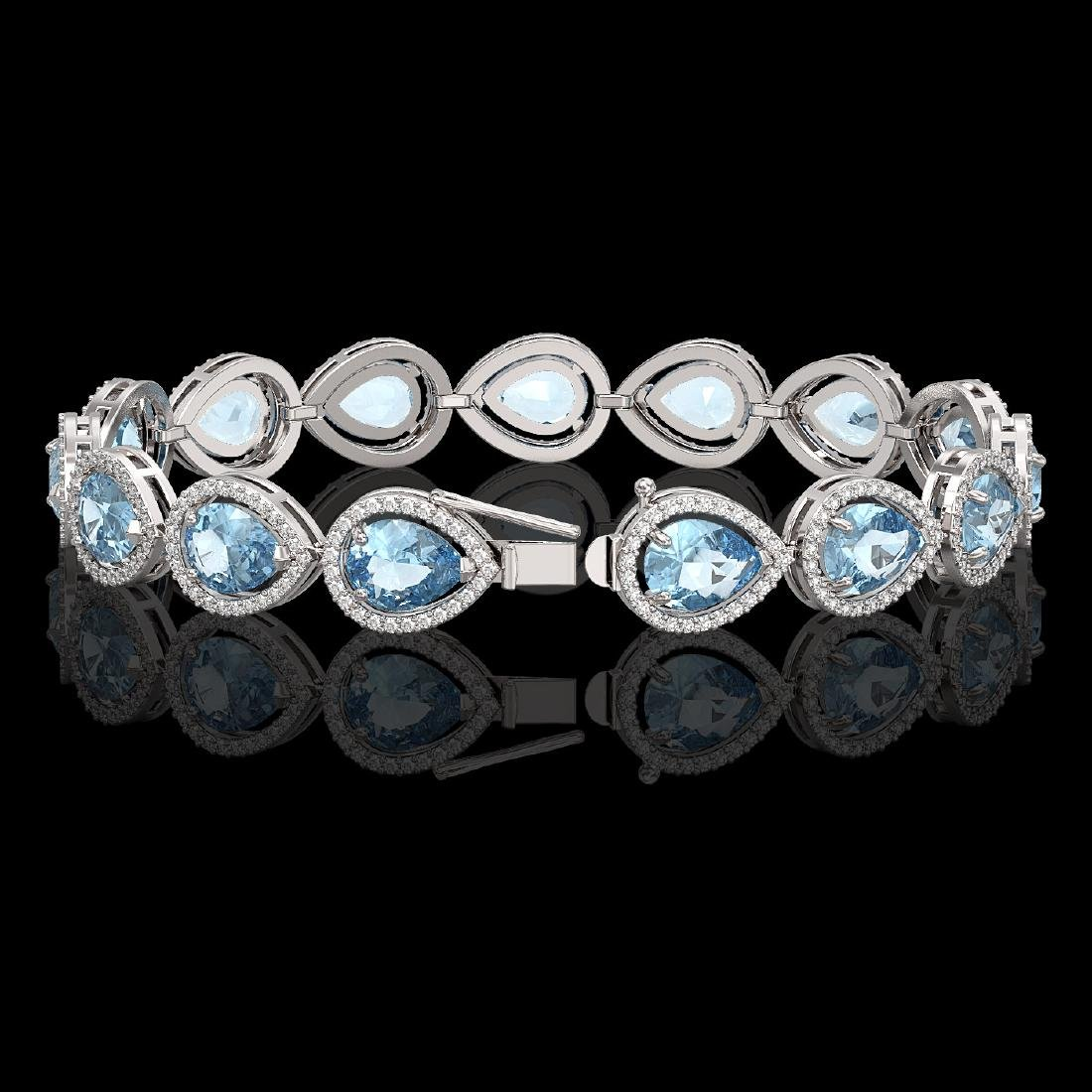 19.85 CTW Aquamarine & Diamond Halo Bracelet 10K White - 2