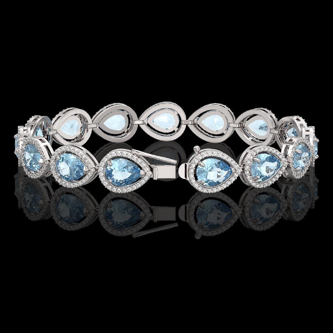 19.85 CTW Aquamarine & Diamond Halo Bracelet 10K White - 2